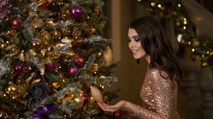 Brunette Christmas Girl Model Woman 2560x1706 Wallpaper