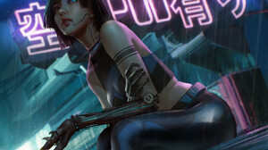 Trungbui Drawing Cyberpunk Women Glowing Eyes Prosthesis Neon Glow Rain 1920x1279 Wallpaper
