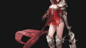 Daeho Cha Drawing Women Redhead Long Hair Warrior Armor Red Clothing Shawl Cape Weapon Simple Backgr 1920x2132 Wallpaper
