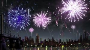 Artistic Building City Fireworks Purple 5175x3375 Wallpaper