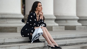 Women Model Red Lipstick Black Dress Legs Together Sitting Hand On Face Necklace Women Outdoors Anto 2000x1125 Wallpaper