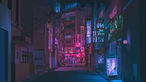 Japan Neon Digital Art Artwork Digital Neon Sign 5120x2880 Wallpaper