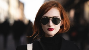 Face Girl Lipstick Portrait Redhead Sunglasses 3840x2160 Wallpaper