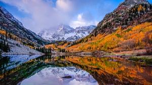 Nature Lake Mountain Forest Fall Foliage 2048x1295 Wallpaper