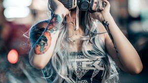 Asian Model Women Long Hair Dyed Hair Inked Girls Mask Gas Masks Looking At Viewer Bare Midriff Stan 1366x2048 Wallpaper