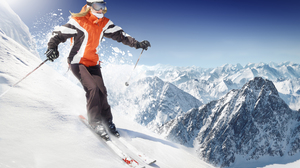Woman Mountain Winter Snow 2409x1600 Wallpaper