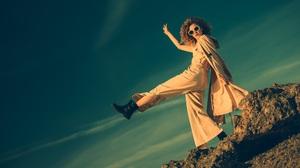 Women Model Sky Legs Sunglasses Outdoors Boots Walking Rock Women Outdoors 5600x3733 Wallpaper
