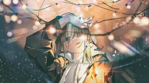 Anime Anime Girls Fairy Lights Aqua Eyes Light Effects Blonde Long Hair Jacket Shiomi Artwork 2000x1414 wallpaper