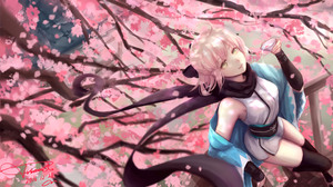 Anime Girls Anime Fate Grand Order FGO Fate Series Okita Souji Japanese Clothes Scarf Cherry Blossom 3554x2000 Wallpaper