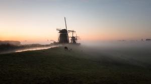 Building Fog Windmill 3256x1707 Wallpaper