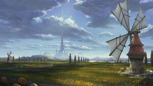 Philipp A Ulrich Digital Art Landscape Clouds Castle Windmill 3840x1920 Wallpaper