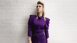 Actress English Blonde Blue Eyes Purple Dress 7760x4365 Wallpaper