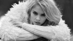 Women Model Portrait Looking At Viewer Blonde Open Mouth Monochrome Peter Muller Sweater 2000x1333 wallpaper