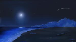 Digital Art Ocean View Night Shooting Stars Beach Landscape Moonlight 1920x1080 Wallpaper