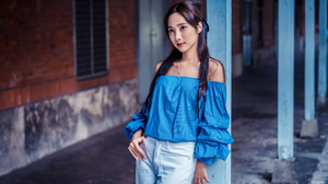 Asian Model Women Long Hair Dark Hair Column Jeans Blue Blouse Necklace Bricks Wall Window 3840x2560 Wallpaper