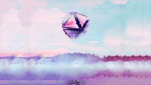 Artwork Digital Art Triangle Sphere Geometric Figures Clouds Water Reflection 1920x1080 wallpaper