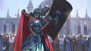 Knight Warrior Woman 6034x3373 Wallpaper