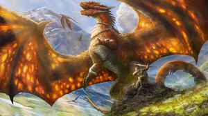 Yuliya Zabelina Digital Art Fantasy Art Dragon Warrior Sword Saddles Creature Wings Artwork ArtStati 1920x1080 Wallpaper