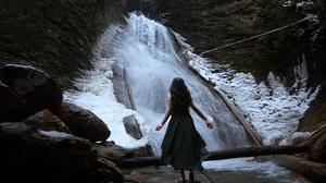 Women Women Outdoors Model Nature Dress Standing Water Waterfall 2560x1855 Wallpaper