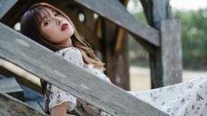 Asian Brunette Depth Of Field Dress Girl Lipstick Model Woman 2048x1367 wallpaper