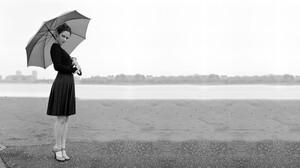 Monochrome Actress Women Women Outdoors Umbrella Plaid Skirt Black Sweater Looking At Viewer Women W 2560x1440 Wallpaper
