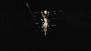 Jesus Christ Glitch Art Abstract Dark Simple Religion Religious MacOS 3000x1688 Wallpaper