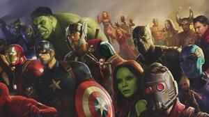 Black Panther Marvel Comics Captain America Captain Marvel Carol Danvers Doctor Strange Drax The Des 5379x2571 Wallpaper
