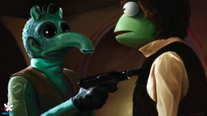 Star Wars Parody The Muppets ArtStation Dan Luvisi Blaster Artwork Science Fiction Greedo Star Wars  1900x1056 wallpaper