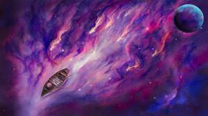 Digital Art Stars Boat Planet VV Ave 5760x3240 Wallpaper