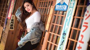 Women Model Asian Brunette Long Hair Brown Eyes Looking At Viewer Red Lipstick Hoop Earrings Smiling 2560x1709 Wallpaper