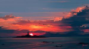 Island Lighthouse Sea Sky 1920x1080 Wallpaper