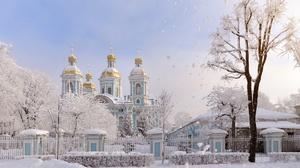 Church Fence Russia Saint Petersburg Snow Temple Winter 2000x1335 Wallpaper