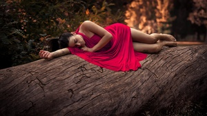Brunette Log Model Red Dress 2048x1363 wallpaper