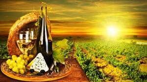 Bottle Cheese Grapes Sun Vineyard Wine 5000x2912 Wallpaper