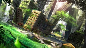 Building Greenery Post Apocalyptic Tree 1920x1080 Wallpaper