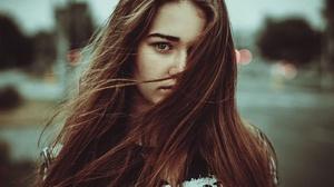 Brunette Depth Of Field Girl Hair Model Woman 2048x1365 wallpaper
