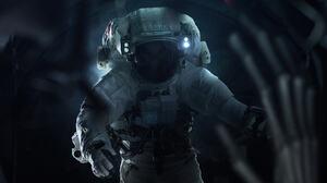 Alien Astronaut Dark 2048x1280 Wallpaper