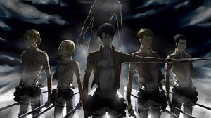 Anime Girls Anime Anime Boys Standing Girls With Swords Shingeki No Kyojin Levi Ackerman Eren Jeager 1920x1080 Wallpaper