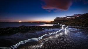 Beach Nature Night Time Lapse 2048x1289 wallpaper