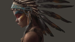 Feather Girl Native American 3968x2480 Wallpaper