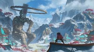 Mountains Snow Giant Samurai Creature Tomislav Jagnjic 1920x1023 Wallpaper