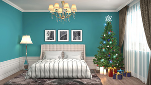 Bedroom Christmas Tree Decoration Furniture Gift 2560x1440 Wallpaper