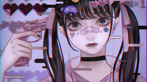 Anime Anime Girls Pistol Black Nails Dark Eyes Dark Hair Long Hair Looking At Viewer GAME OVER 4066x2500 Wallpaper