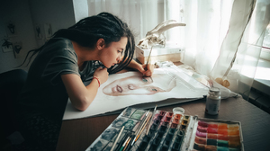 Andrew Vasiliev Women Painting Dark Hair Dreadlocks Paint Brushes Face Skull Indoors Model Brunette  2048x1152 Wallpaper