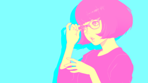Anime Glasses Colorful Vaporwave Simple Background Short Hair Anime Girls Vector Open Mouth Ilya Kuv 3840x2160 Wallpaper