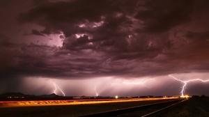 Cloud Lightning Night Railroad Storm 2048x1259 Wallpaper