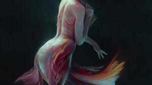 Artwork Fantasy Art Fantasy Girl Creature Redhead Women ArtStation 3200x3840 Wallpaper