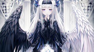 Angel Blue Eyes Girl Long Hair White Hair Wings 4500x3460 Wallpaper