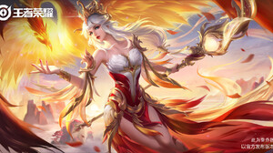 3Q Studio Drawing Women Silver Hair Crown Long Hair Dress Fire Phoenix Fantasy Art Staff 1920x979 Wallpaper