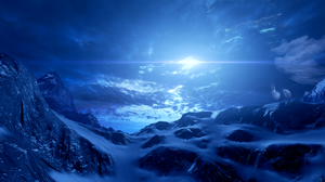 Mass Effect Andromeda Mountains Sky Sun Cold Snow Landscape Rocks Space Clouds Blue Video Games PC G 3840x2160 Wallpaper